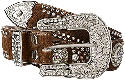 Nocona Belt Co. Women's Scallop Berry Concho Hair Belt, brown, Medium