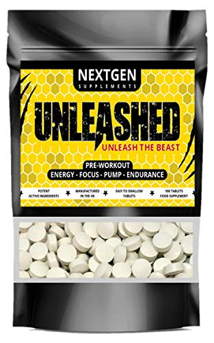 Unleashed Pre Workout Pills Boost Performance, Energy, Focus & Endurance with Creatine Monohydrate, Beta Alanine, Caffeine - for Men & Women - 100 Tablets