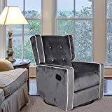 Polar Aurora Swivel Glider Rocker Recliner - Single Suede Tufted Gliding Chairs for Living Room Home Theater (Dark Gray)