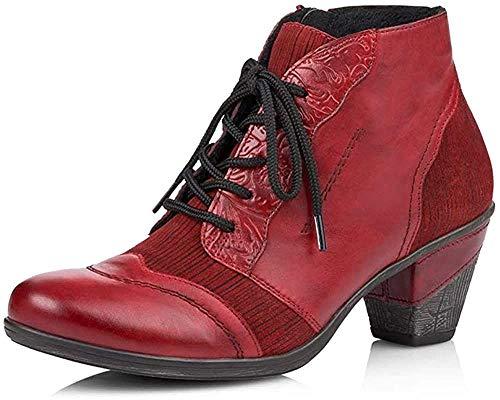 Remonte Damen Stiefeletten, Frauen Ankle Boots, knöchelhoch reißverschluss Freizeit leger Stiefel Bootie,Rot(mohn),39 EU / 6 UK