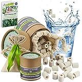 55 perlas de cerámica EM® con caja ecológica y bolsa de algodón orgánico reutilizable, purificador natural de agua grifo, filtración de agua para jarra, hervidor, lavadora, vajilla