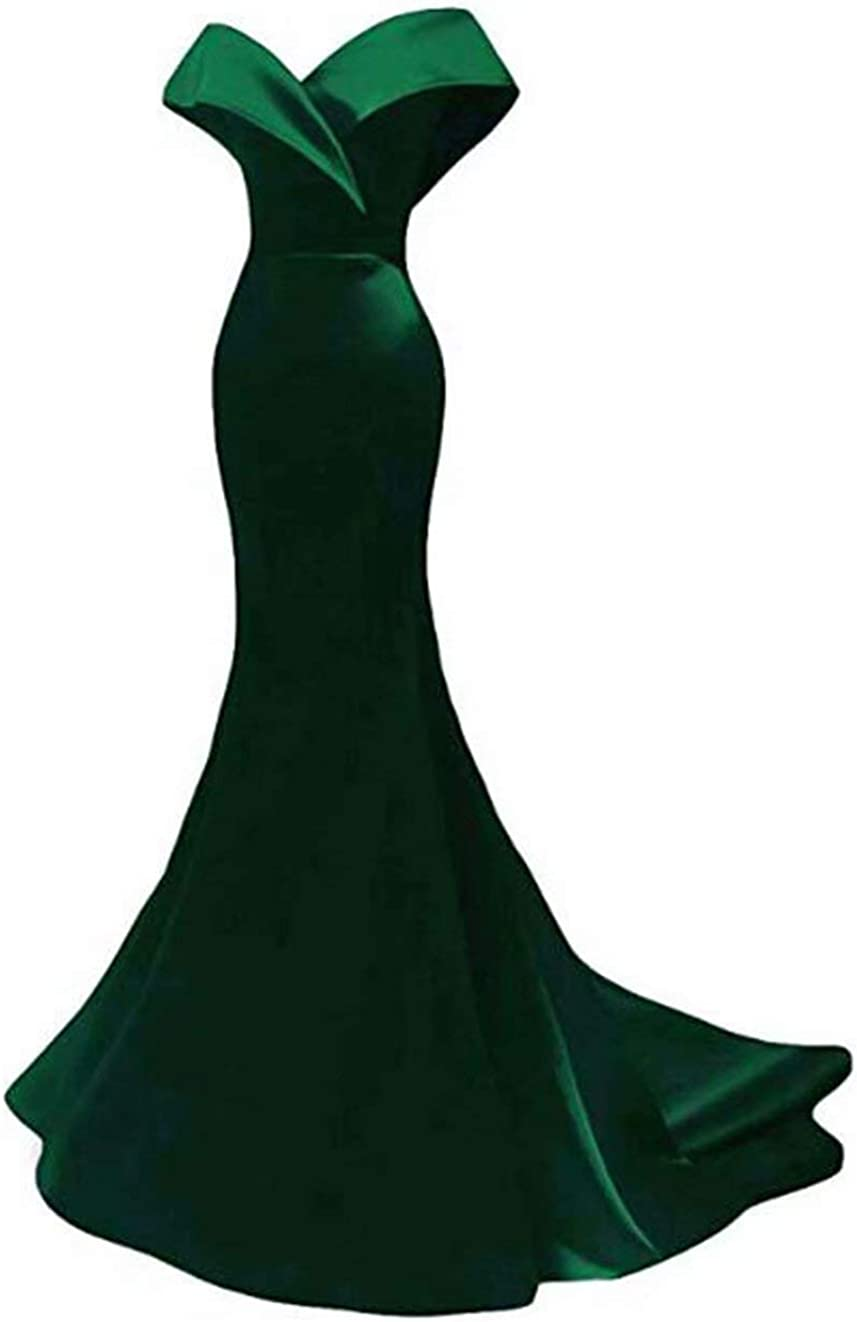 Off The Shoulder Mermaid Prom Dresses Long Satin Evening Dresses Formal Party Gowns for Women
