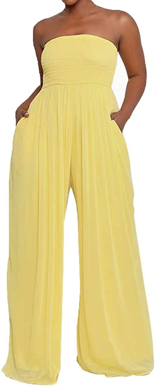 IyMoo Free shipping on posting reviews Women's Sexy Off Shoulder Leg Wide Strapless Loose Colorado Springs Mall Jumpsui