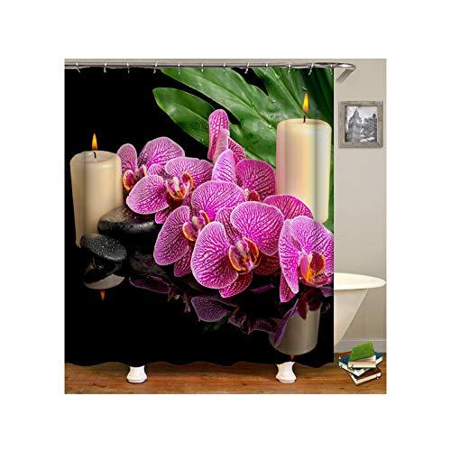 Abellale Duschvorhang Design Schmetterling Orchidee Blumen Duschvorhang Stoff Antischimmel Fushcia 180x200CM