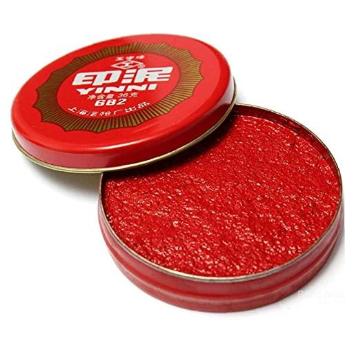 TOSSPER 1pc China del Cojín De Tinta De Huella Digital De Impresión del Cojín del Cojín Pigmento Rojo Ronda