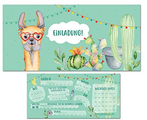 CardWheels 12 Einladungskarten Lama zum Geburtstag oder Kindergeburtstag - Mädchen Jungen / Aquarell Jugendweihe Einschulung Poolparty