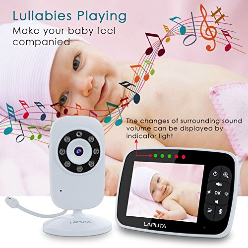 "(Upgraded Version) Baby Monitor, LAPUTA 3.5"" Large Screen Baby Monitors with Camera and Audio Night Vision Two Way Talk Temperature Sensor ECO Mode Built-in Lullabies Support Multi Camera"
