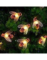 Lichtketting op zonne-energie, 50 leds, voor buiten, bijenlichtketting, 7 m, 8 modi, waterdicht, voor binnen en buiten, voor tuin, bomen, terras, Kerstmis, bruiloften, feesten (warm wit)