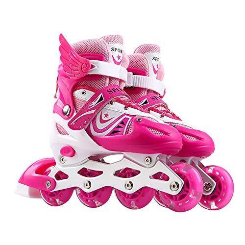 gormyel Inline-Skates & Rollschuhe, Rollschuhe Mädchen 26-32, Rollschuhe Damen Und Junge, Einstellbare Inline-Rollschuhe Für Kindergröße 26-41 LED-Inline-Skates