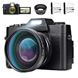 Digital Camera Camcorder Vlogging Camera with Wide-Angle Lens 180 Degree Rotation 30MP 3.0Inch LCD Screen 16X Digital Zoom Webcam Camera Camcorder with Wide Angle Lens,2 Batteries