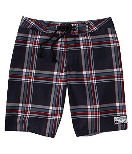Aeropostale Mens Plaid Swim Bottom Board Shorts, Black, 28