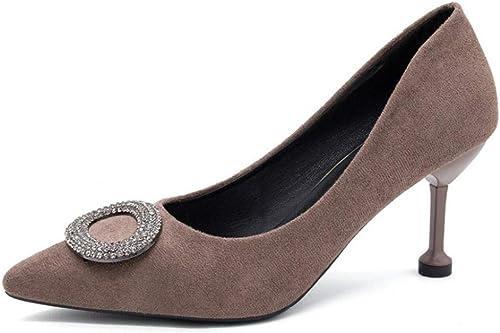 GGXDM Pointu Pointu Chaussures Stiletto pour Femmes avec Strass Boucle Talons Chaussures De Mariage Chaussures De Travail Marron