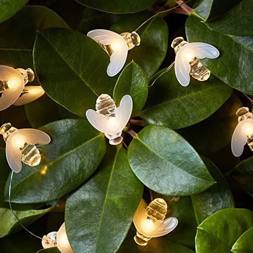 Lights4fun 20er LED Micro Lichterkette Bienen warmweiß Timer Batterie Innen- und Außenbeleuchtung