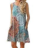 Abravo Mujer Vestido Estampado Floral sin Mangas Vestido Casual Corto Playa con un Bolsillo,Azul,L