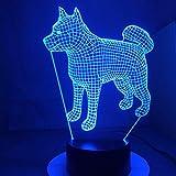 Japón Akita Samoyedo Perro Husky lámpara de Mesa de Cambio de Color de luz Novedad lámpara de luz Nocturna Transporte de Gota