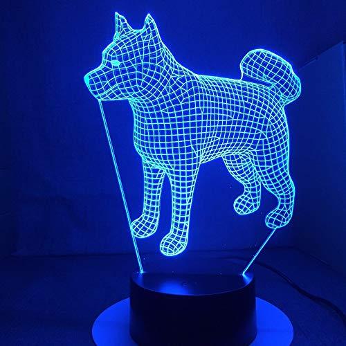 Japan Akita Samoyed Husky Hund Licht Farbwechsel Tischlampe Neuheit Nachtlicht Lampe Tropfen Transport