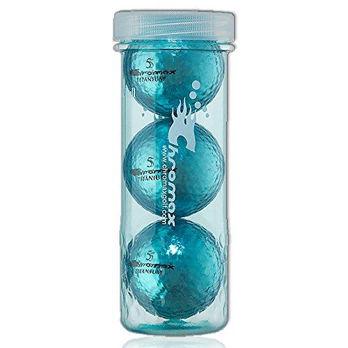 Chromax 3 Golfbälle Bunt M1x High Visibility - Lustig Golf Geschenk Idee für den Glamour Faktor beim Golfen in (blau)