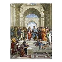 ポスターラファエルキャンバス絵画アテナイの学堂の壁の写真リビングルームレトロクラシックデコレーションホームウォールアート50X70cm20x28インチフレームなし
