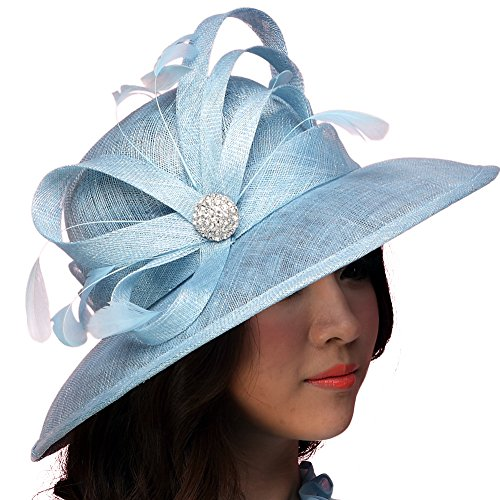 June's Young Women Hat Sinamay Summer Hats Polka Dot Bow Organza (Light Blue)