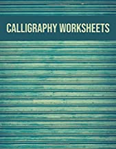 Calligraphy worksheets: Blank practice sheets book with slanted grid paper: Vintage green cover design