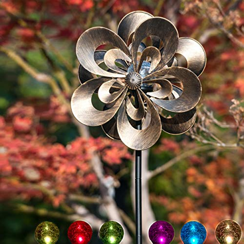 SteadyDoggie Solar Wind Spinner Magnolia Multi-Color Seasonal LED Lighting Solar Powered Glass Ball with Kinetic Wind Spinner Dual Direction for Patio Lawn & Garden