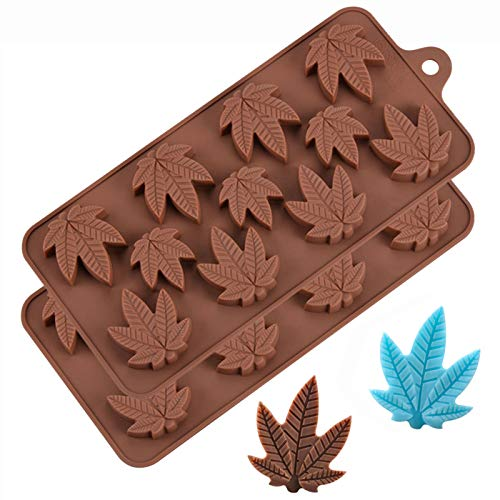 Marijuana Candy Molds Pot Leaf Silicone Trays for Chocolate Gummies Party Novelty Gift Mold, 2 Pack