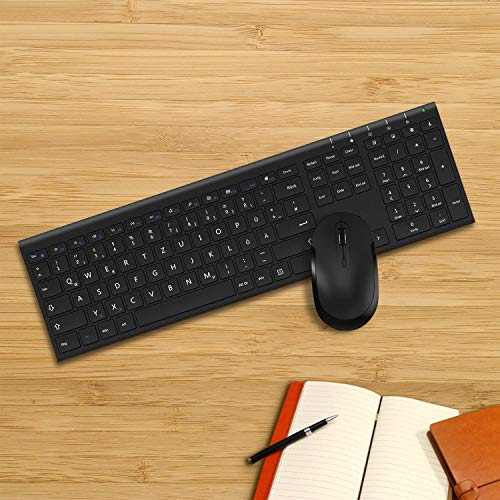 Jelly Comb Kabellose Tastatur und Maus, 2,4G Ultradünne Funktastatur und Maus mit Ziffernblock, Full-Size Wiederaufladbare QWERTZ Tastatur für Computer, Laptop, Notebook, Windows(Schwarz)