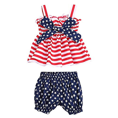Julhold Kids Baby Girs Fashion Loisirs Tops Rayé Tops Star Bloomer Short Coton Tenue du 4 Juillet 0–2 Ans - Rouge - 18 Mois