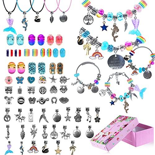 Regalo para niñas de 4 a 12 años, pulsera de abalorios DIY para niñas, juguetes para niños, joyas para niñas y adolescentes, 5 6 7 8 9 10 11 años (5 cadenas de plata y 5 cordones para el cuello)