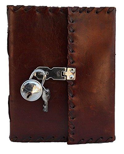 Diario de piel auténtica hecho a mano con cerradura real y llave para niñas, poetas, artistas escritores, bonito regalo para adolescentes, retro, clásico, encuadernado de cuero