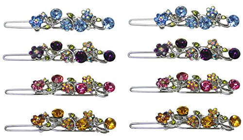 Set of 8 Barrettes with Sparkling Stones, 2 each of 4 colors, NM86350-15-8