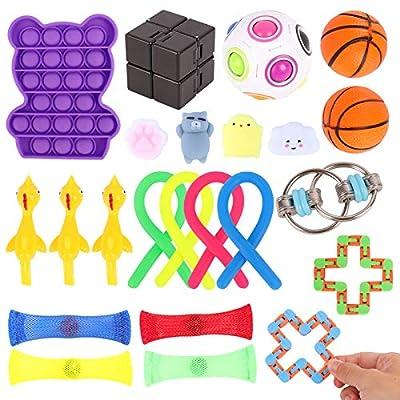 Herefun 24Pcs Juguetes Sensoriales Kit, Fidget Toys Sensory Juguetes Antiestres para Aliviar el Estrés, Juguetes Fidget Autismo Sensorial Juguete, Fidget Toys para Niños Adultos de Herefun