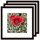 16x16 Picture Frame Black 3 Pack Solid Wood for Mat 12x12 Wall Mounting Square Poster Photo Frames