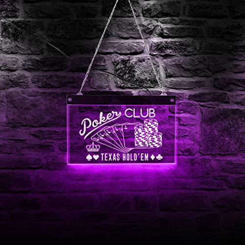 30cm * 19cm Poker Club Texas Hold'em Juego Colorido LED Letrero de luz de neón Decoración de pared Fichas y póquer Lámpara de juego Iluminación colgante de pared Regalo del día de la madre Letreros
