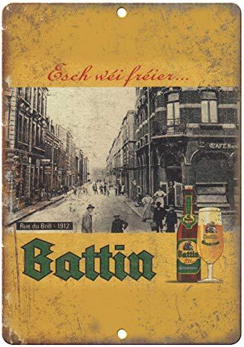 Blechschild, Vintage, Retro, Aluminium, Battin, europäisches Vintage, Bier, 25,4 x 35,6 cm