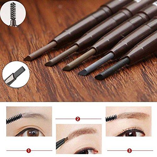 JaneDream Double Head Eyebrow Pencil Waterproof Automatic Eyeliner Pen Drawing Eye Brow Brown 5# by JaneDream
