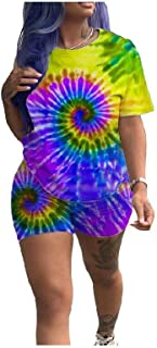 RkYAO Women's 2 Piece Oversized Tie Dye Blouse + Bodycon Shorts Pants