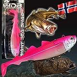 Angel-Berger Wild Devil Baits Giant Sea Shad Heilbutt Seelachs Köder Meeresangeln (Hot Pink, 333g /...