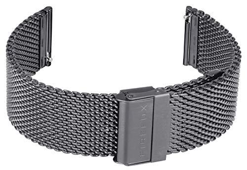FIREFOX Mesh Ersatz- Uhrenarmband Milanaise Edelstahl grau guncolor Breite 22mm MSB-01-A22 Schnellwe
