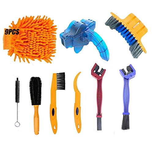 Tfwadmx 9Pcs Bicycle Cleaning Brush Tool,Bike Wash Kit Clean Set with Chain Scrubber for Bike Chain Tire Wheel Sprocket Stain Dirt Clean,Suitable for All Bike