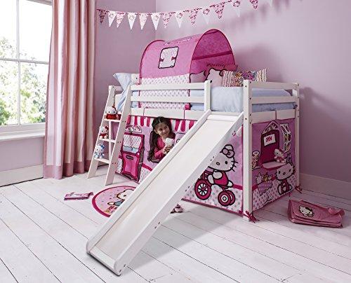 Northshore Hello Kitty Kinder-Hochbett mit Zelt und Rutsche, Hochglanz-Weiß
