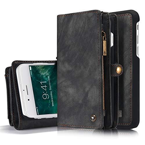 SsHhUu Funda para iPhone 7 Plus / 8 Plus, Cuero PU de Gran Capacidad con [Ranuras para Tarjetas] Cubierta Magnética Desmontable Case para Apple iPhone 7 Plus/iPhone 8 Plus (5.5 Pulgada) Negro/Gris