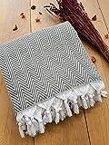 Damla Tagesdecke Überwurf Decke - Wohndecke perfekt für Bett & Sofa, 100prozent Baumwolle - handgefertigte Fransen, 220x250cm (Grau)