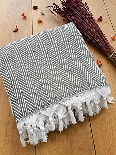 Damla Tagesdecke Überwurf Decke - Wohndecke ideal für Bett und Sofa, 100% Baumwolle - handgefertigte Fransen,...
