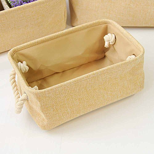 EILEMO Rectangle Fabric Storage Basket with Rope Handles Baskets for Shelves,Clothes Storage,Magazine Basket