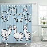 QYGA-3BU Cortina de baño Llama Cute Alpacas Child Lama de Perú en The Set de Cortinas de baño con 12 Ganchos de 60 x 72 Pulgadas