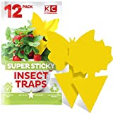 Gnat Sticky Trap (12 Pack) Gnat Traps for House Plants, Yellow Sticky Traps for Gnats, Fruit Fly Traps, Gnat Killer for Indoor Plants