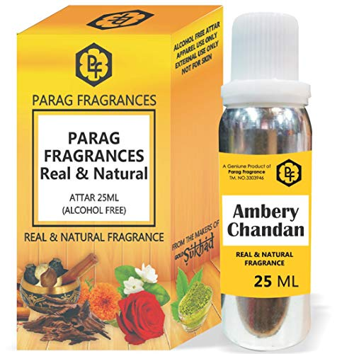 Parag Fragrances - Attar de chandan ambéry - 25 ml - Avec flacon vide fantaisie (sans alcool, longue durée - Attar naturel) - Également disponible en 50/100/200/500