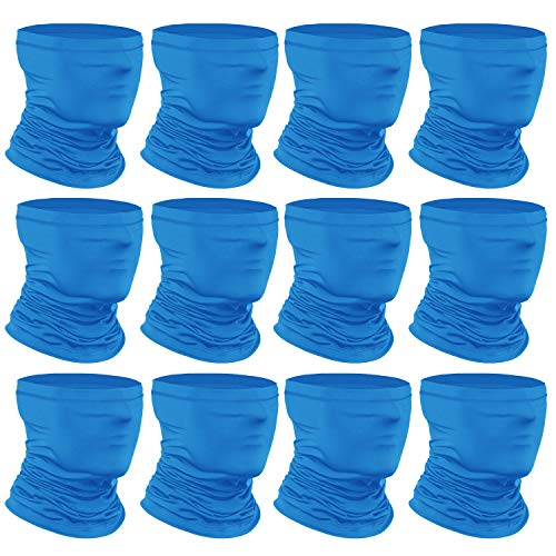 [12-Pack] Neck Gaiter Scarf, Breathable Bandana Face Bandana Cover Cooling Neck Gaiter for Men Women Cycling Hiking Fishing. Blue
