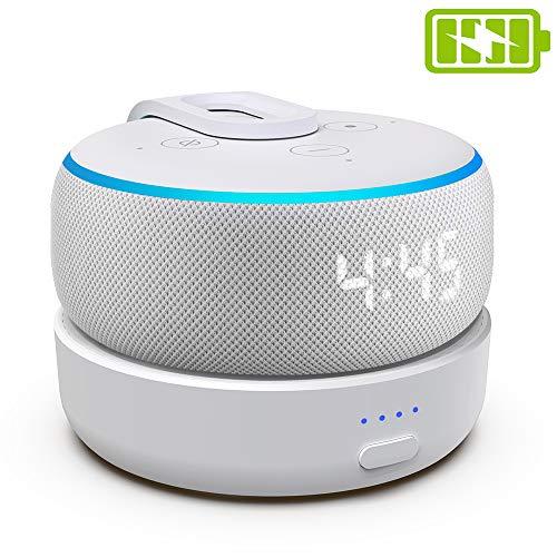 Batterien Akku für Dot 3. Generation & Intelligente Lautsprecher - Tragbares drahtloses Ladegerät Dot-Zubehör mit 8 Stunden Spielzeit, weiß (Dot Nicht enthalten) (Weiß)